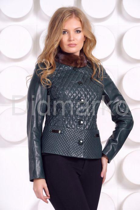 Кожаный пиджак с мехом норки. Фото 6.