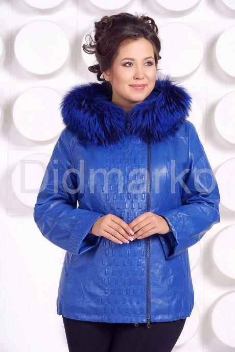 Демисезонная кожаная куртка больших размеров DM. Фото 3.