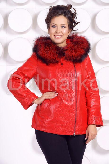 Демисезонная кожаная куртка больших размеров RM. Фото 3.