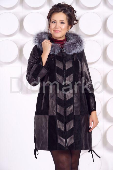 Комбинированное кожаное пальто. Фото 3.