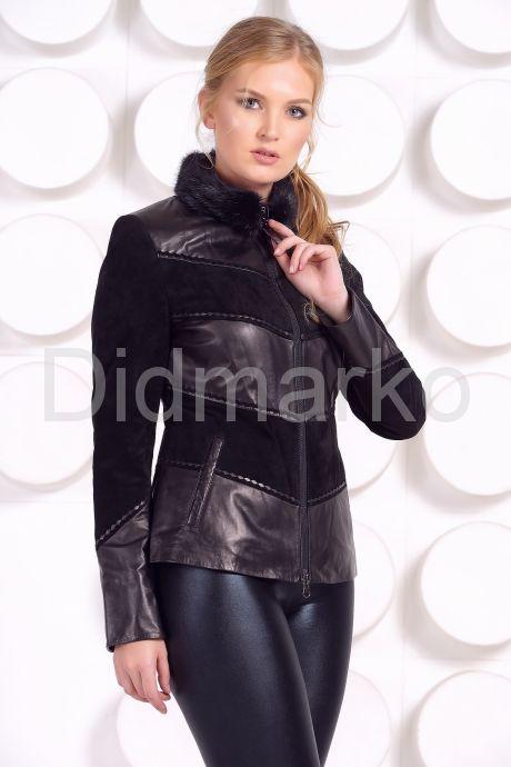 Комбинированная кожаная куртка с мехом норки. Фото 3.