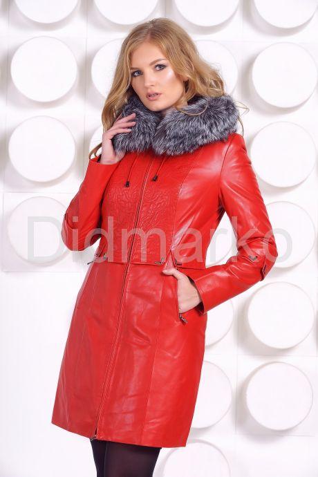 Оригинальное кожаное пальто с мехом чернобурки. Фото 2.