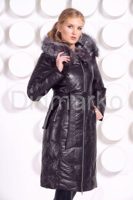 Длинный кожаный пуховик черного цвета. Фото 2.