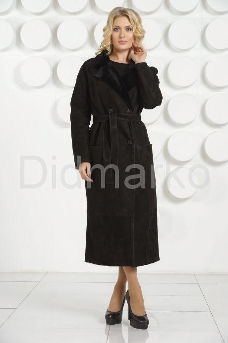 Длинная дубленка черного цвета. Фото 2.