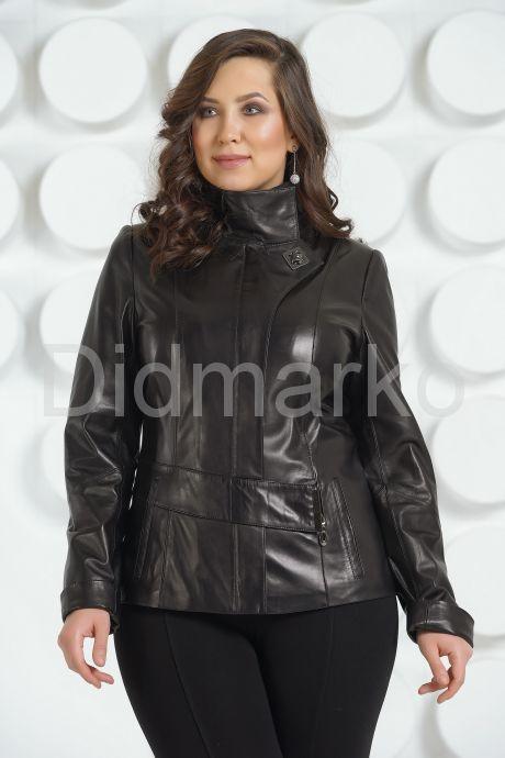 Черная кожаная куртка пиджак. Фото 2.