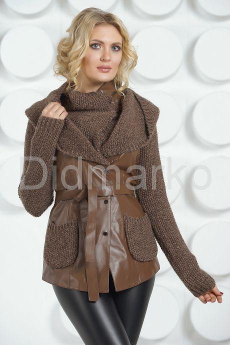 Утепленная кожаная куртка с трикотажем. Фото 3.