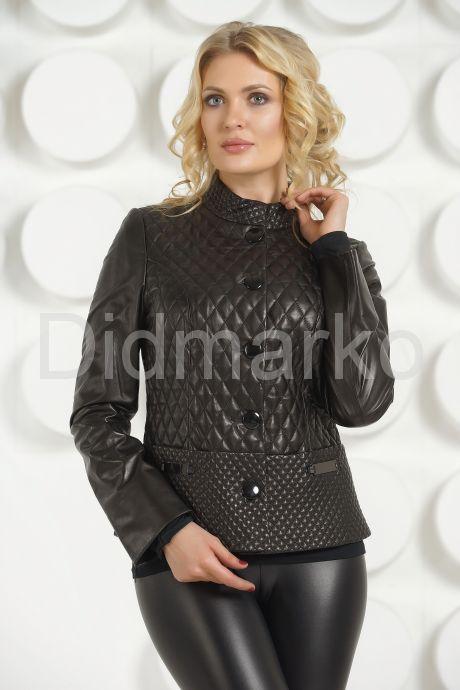 Стеганая кожаная куртка черного цвета. Фото 3.