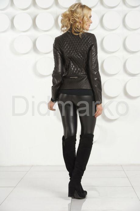 Стеганая кожаная куртка черного цвета. Фото 4.