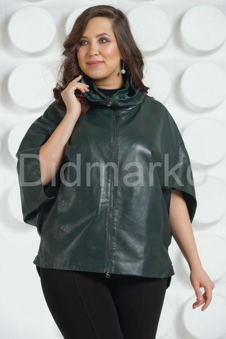 Темно-зеленая кожаная куртка для женщин. Фото 3.