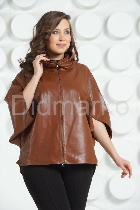 Коричневая кожаная куртка для женщин. Фото 2.