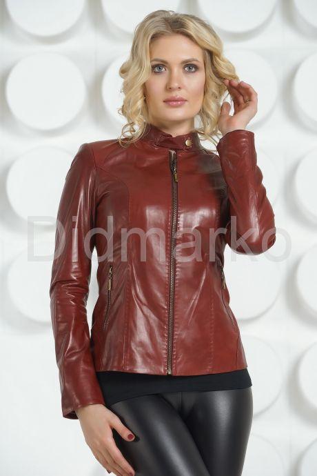 Кожаная куртка бордового цвета. Фото 2.