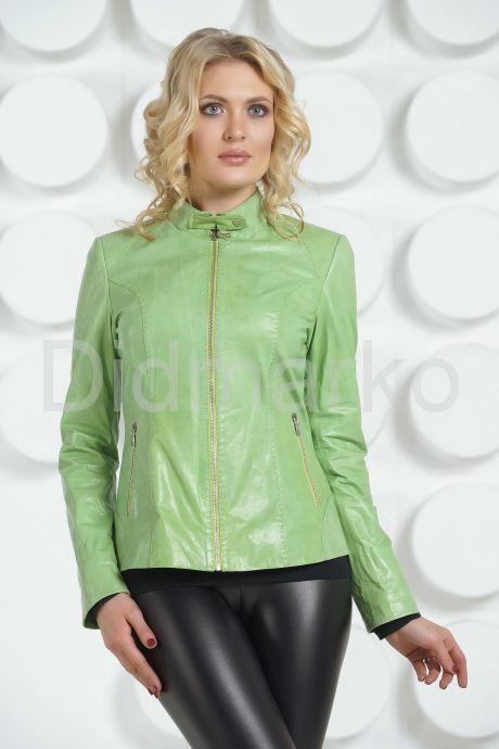 Кожаная куртка салатового цвета на молнии. Фото 3.