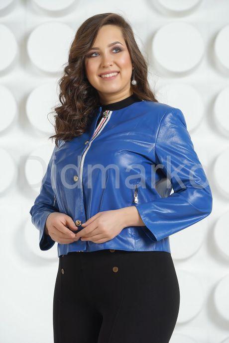 Модная кожаная куртка цвета индиго. Фото 3.
