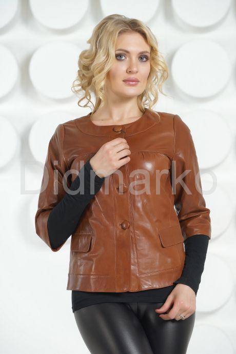 Кожаная куртка терракотового цвета на пуговицах. Фото 2.