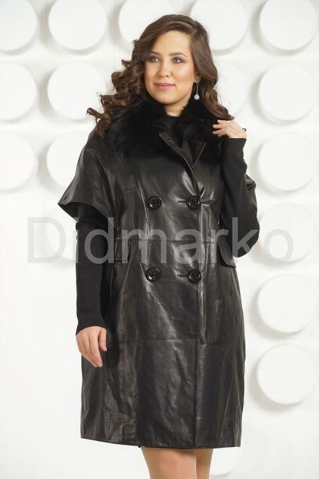 """Кожаный плащ в стиле """"оверсайз"""" черного цвета. Фото 3."""