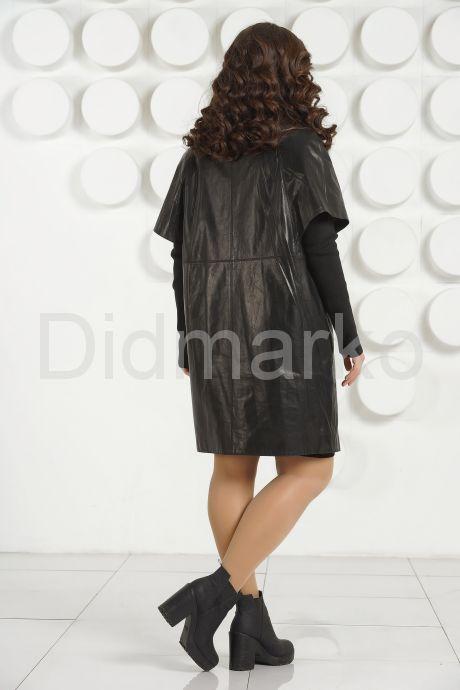 """Кожаный плащ в стиле """"оверсайз"""" черного цвета. Фото 4."""