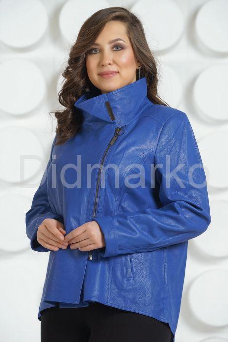 Стильная кожаная куртка синего цвета. Фото 2.