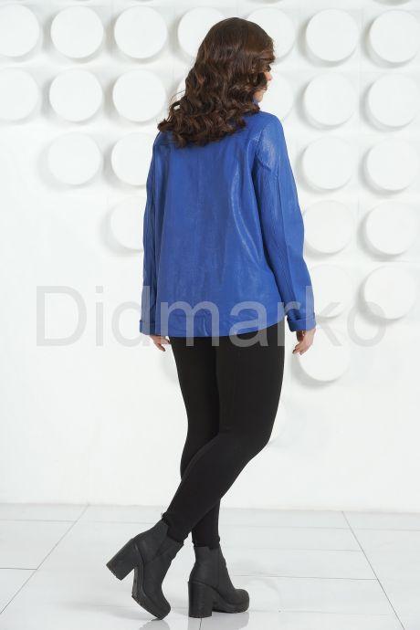 Стильная кожаная куртка синего цвета. Фото 4.