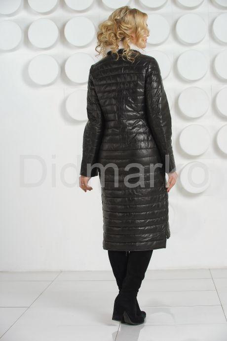 Длинное кожаное пальто с воротником из меха норки