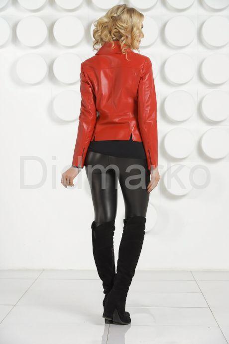 Кожаная куртка косуха красного цвета. Фото 4.