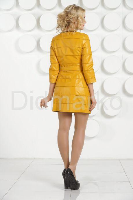 Желтый кожаный плащ. Фото 4.