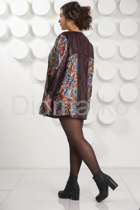 Кожаная куртка с принтом больших размеров. Фото 4.