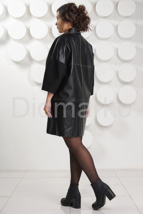 Стильный комбинированный кожаный плащ. Фото 4.