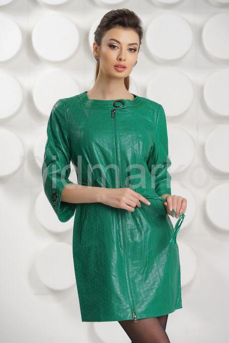 Модный перфорированный кожаный плащ. Фото 4.