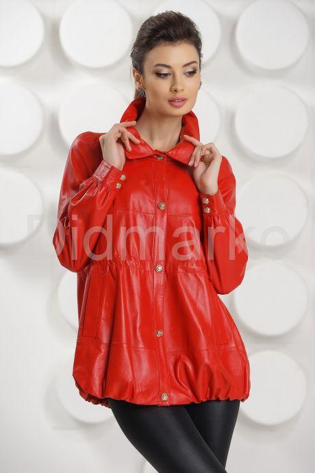 Модная кожаная куртка свободного покроя. Фото 3.