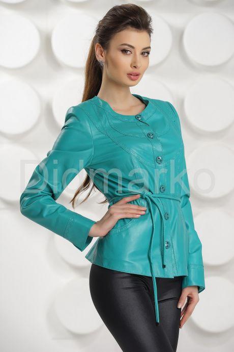 Кожаная куртка цвета бирюзы. Фото 3.