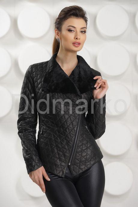 Стильная стеганная кожаная куртка. Фото 2.