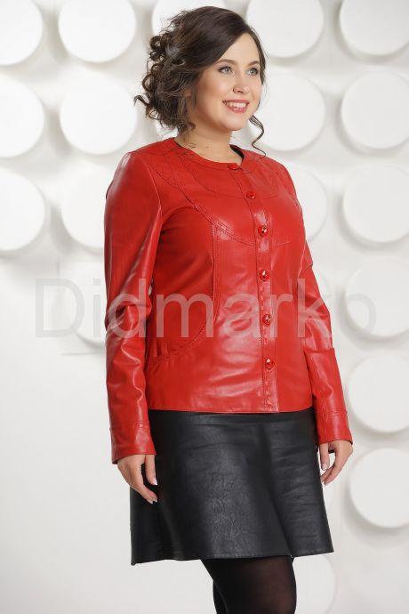 Кожаная куртка красного цвета женская. Фото 1.