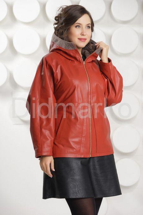 Кожаная куртка с капюшоном большого размера кораллового цвета. Фото 5.