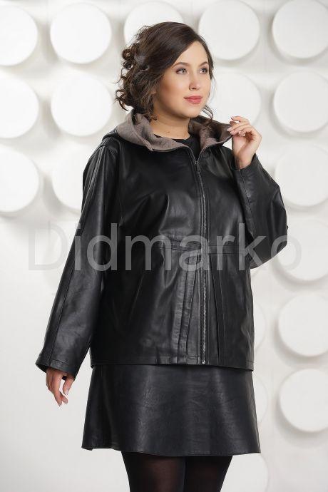 Итальянская кожаная куртка больших размеров с капюшоном. Фото 6.