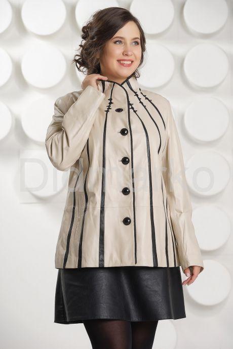 Светлая кожаная куртка с замшевыми вставками. Фото 2.