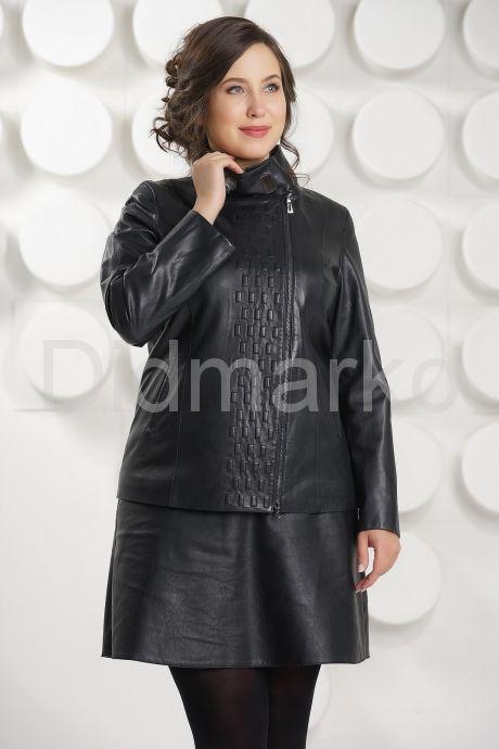 Кожаная куртка косуха на молнии больших размеров. Фото 2.