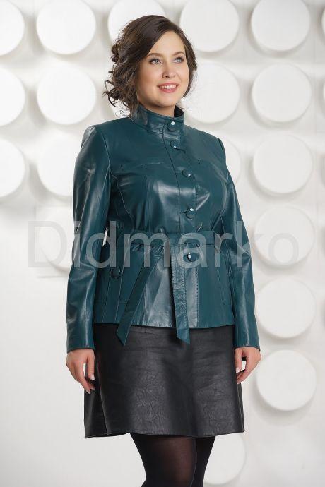 Красивая кожаная куртка больших размеров с поясом. Фото 2.