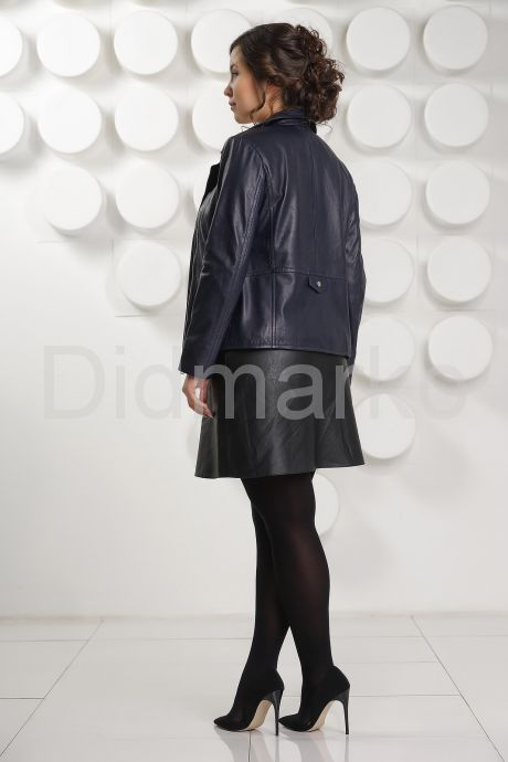 Синяя кожаная куртка Милан. Фото 8.