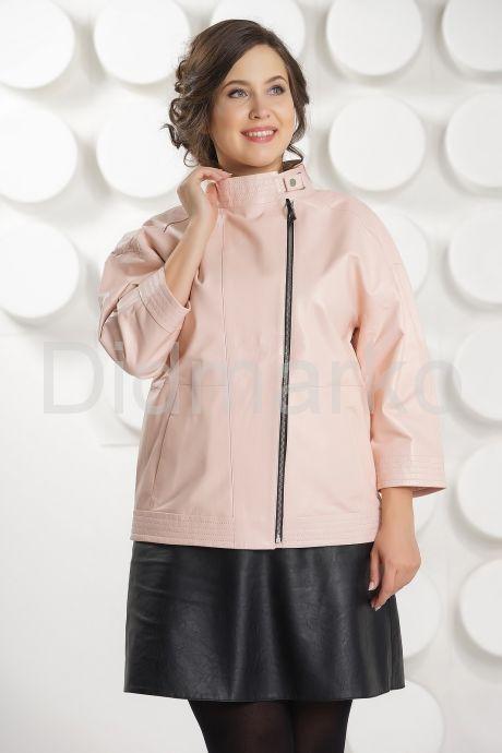 Розовая кожаная куртка больших размеров. Фото 3.