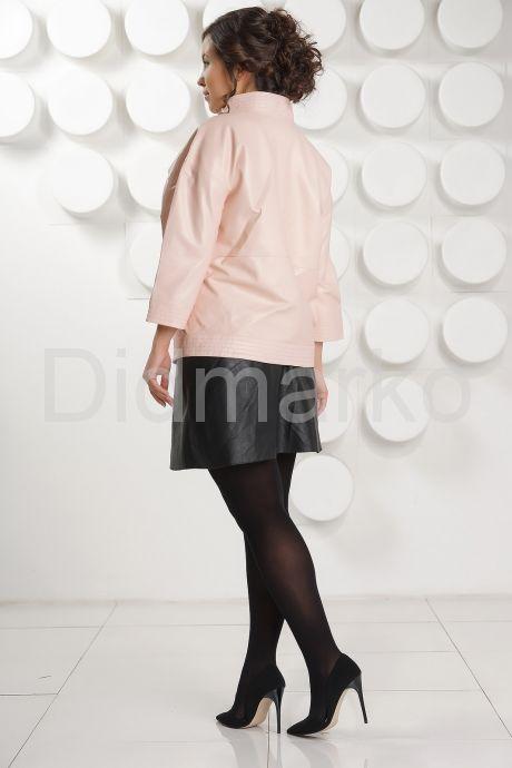 Розовая кожаная куртка больших размеров. Фото 4.