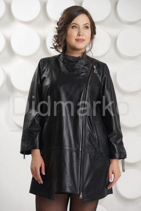 Удлиненная кожаная куртка на молнии. Фото 2.