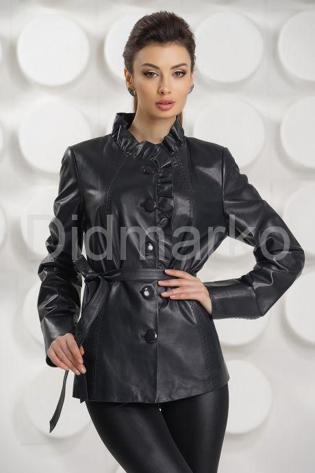 Кожаная куртка с рюшами цвета берлинской лазури. Фото 3.