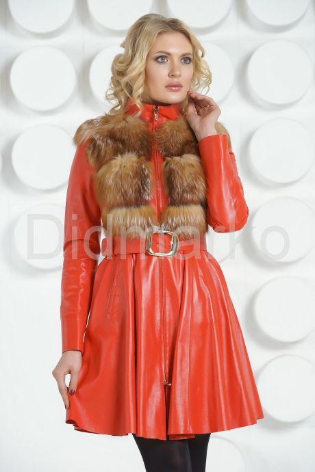 Изящное кожаное пальто. Фото 2.