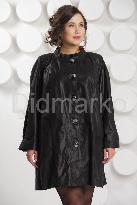 Укороченный кожаный плащ больших размеров. Фото 3.