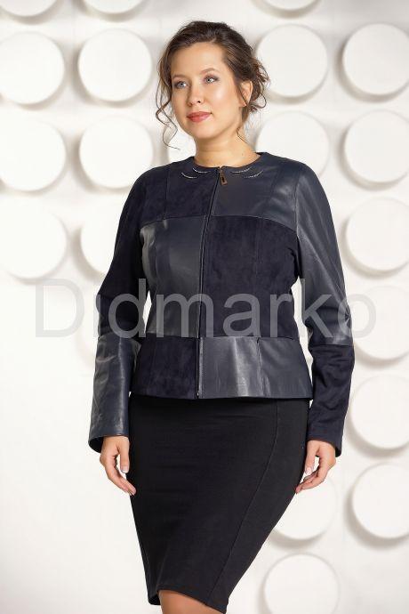"""Комбинированая кожаная куртка синего цвета """"chanel"""". Фото 1."""