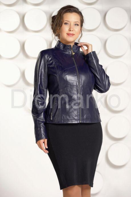 """Комбинированая кожаная куртка синего цвета """"chanel"""". Фото 5."""