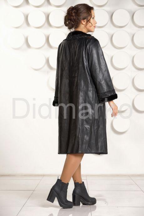 Красивое кожаное пальто черного цвета. Фото 4.