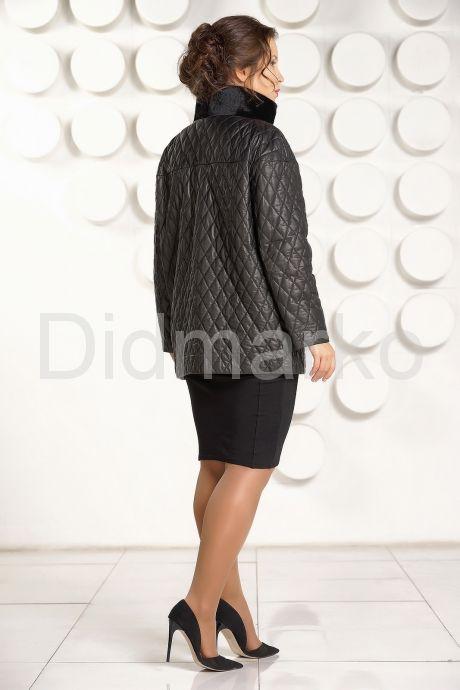Утепленная кожаная куртка черного цвета. Фото 4.
