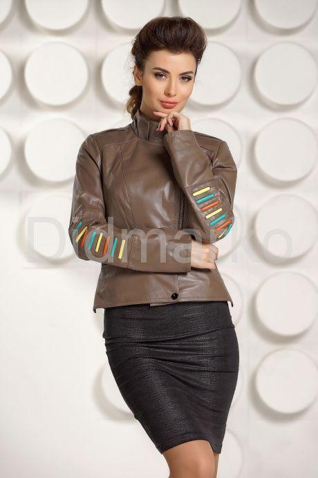 Кожаная куртка карамельного цвета. Фото 2.