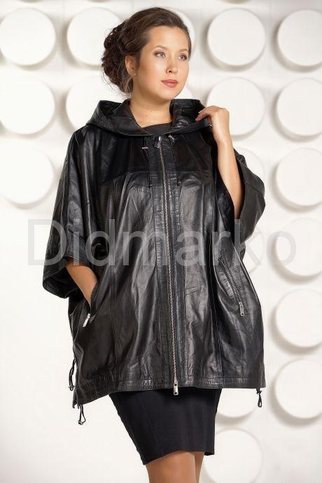 Кожаная куртка большого размера с капюшоном. Фото 2.